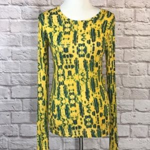 BCBGMaxazria gold/green long sleeve T size L